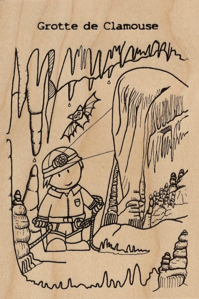 carte postale en bois-color grotte de clamouse-micropanorama