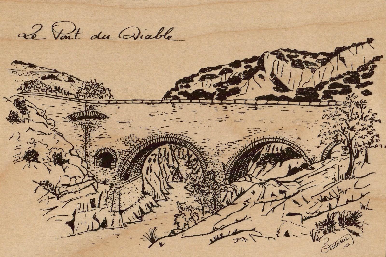 carte postale en bois-pont du diable-micropanorama