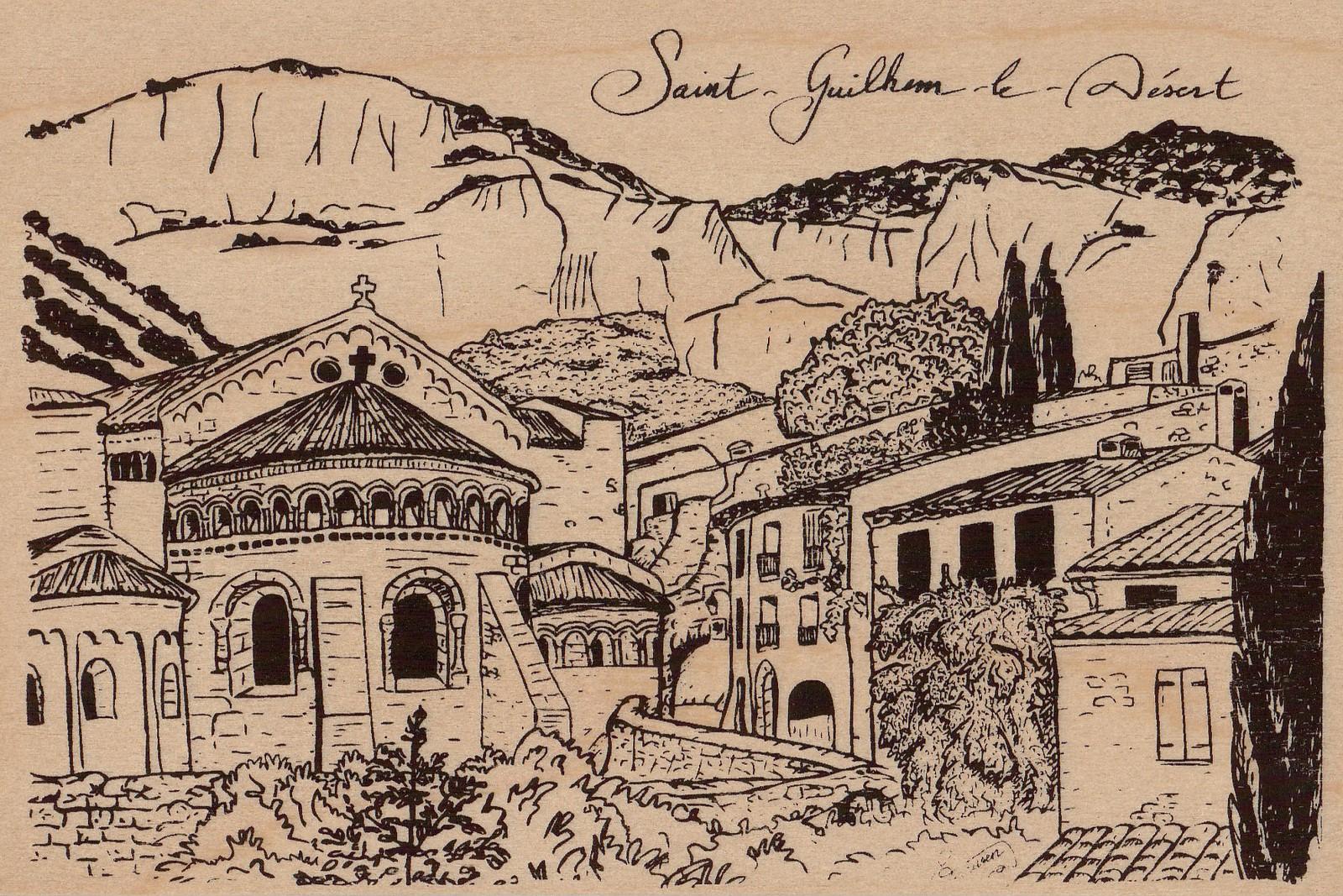 saint guilhem le desert-carte postale en bois-micropanorama